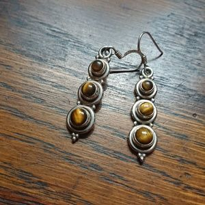 Sterling Silver and Tiger Eye Drop Earrings